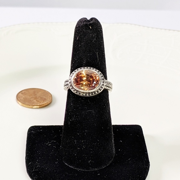 Jewelry - 🌜3 for $25🌛Silver Tone Orange Faceted Stone Ring